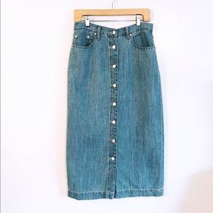 Gap Denim Jean Button Down Long Skirt